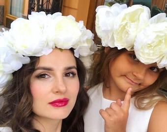 Wedding flower crown peonies set bridesmaids crown white flower crown mommy and me crown mommy and me floral headband baby shower crown