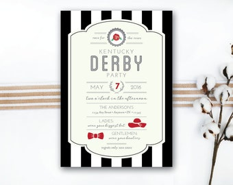 INSTANT DOWNLOAD Kentucky Derby invitation / Derby party invite / classy derby invite / striped derby invite / southern derby invite