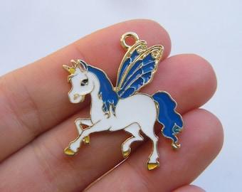 4 Alicorn winged unicorn charms gold tone GC62