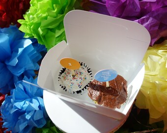 """2 Dozen (24) Gable Cake Box Paper Food Grade Favor, Food w/ Handle Decorated """"Come Along and Play With Me"""" & """"1"""" - Events Handmade by DORANA"""