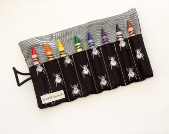 Black and White Bugs Crayon Roll, Insect Crayon Roll Up, Bugs Fabric Crayon Holder, Black, White, and Gray Cotton Fabrics, Handmade