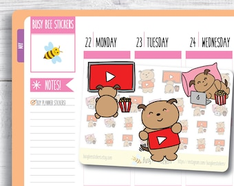 YouTube Planner Stickers, YouTube Stickers, Dog Stickers, YouTube Binge, Vlog, Stream, Happy Planner Stickers, Erin Condren Stickers.