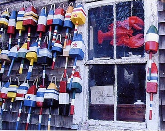 "ROCKPORT LOBSTER BUOY Window Photo 8x10"" Matted Print"