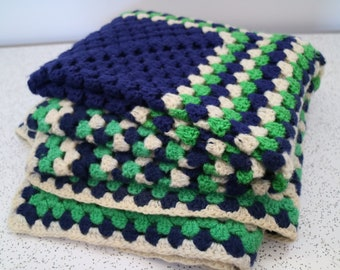 green and navy blue...vintage hand crocheted afghan throw