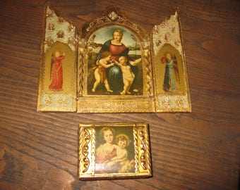 """ANTIQUE TRIPTYCH AND Small Trinket Box Triptych 7 1/2"""" x 9"""" Religious Trinket Box 3"""" x 3 1/2"""" x 1 3/4"""" Religious Shrine Religious Altar"""