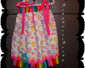 Girls Pillowcase Dress Infant toddler Custom..Colorful Carebears...sizes 0-6, 6-12, 12-18, 18-24 months, 2T, 3T..Bigger sizes AVAILABLE