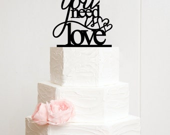 All You Need Is Love Cake Topper with Double Hearts - Custom Wedding Cake Topper