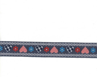 """1 m 30 Ribbon jeans""hearts""pink and blue flowers"" 22mm wide"