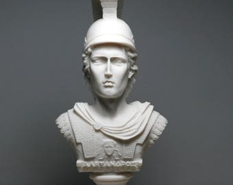 Alexander the Great bust Sculpture Alabaster Stone Statue Made in Greece 7.48in - 19cm  **Free Shipping & Free Tracking Number**