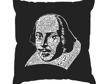Throw Pillow Cover - Word Art -  The Titles Of All Of William Shakespeare's Comed