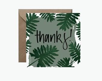 Thanks Greeting Card | Tropical Monstera Leaf