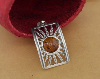 Sterling Silver Baltic Amber Sun Pendant with Chain