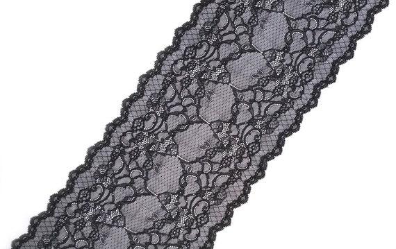 0824bd7935e41 Black Elastic Stretch Lace Trim Wide Floral Scalloped Lace Bra