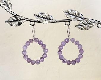 Lavender Amethyst and Sterling Silver Beaded Hoop Drop Lever Back Earrings