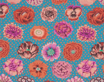 Kaffe Fassett - Fall 2014 - Big Blooms in Turquoise 100% Quilters Cotton Available in Fat Quarter, Half Yard, Yard