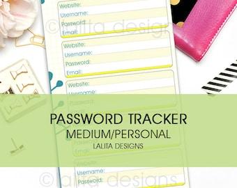 Filofax Kikki K Printable Password Tracker Keeper Insert Personal Medium Size