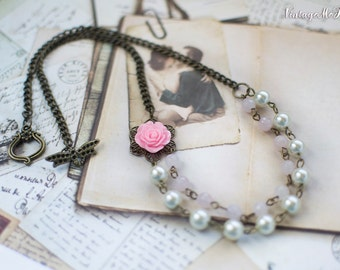 Pearl Necklace, Bridesmaids Necklace, Flower Girl Gift, Shabby Chic Jewelry, Double Strand Necklace, Handmade Jewelry, Wedding Accessories