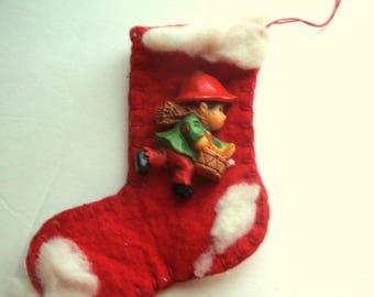 Hand Stitched Christmas Stocking Ornament, Elf Pin, Holiday Decor, Decoration, Felt