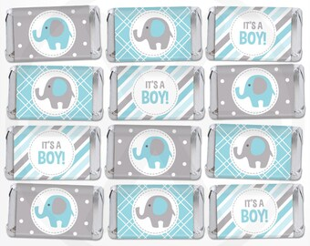 Elephant Mini Candy Bar Wrappers - Boy Mini Chocolate Bar Wraps - Printable Party Favor Labels - Nugget Wraps - Blue and Gray Baby Shower