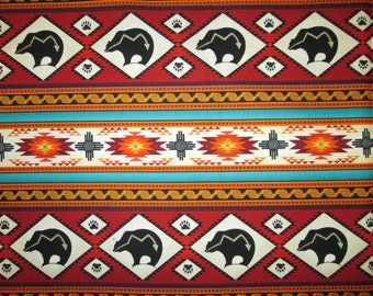 Navajo Totem Bear Terracotta Border Cotton Fabric Fat Quarter Or Custom Listing