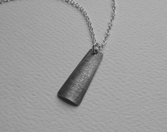 Grey Textured Pendant oxidized sterling silver trapazoid modern minimalist (N7)