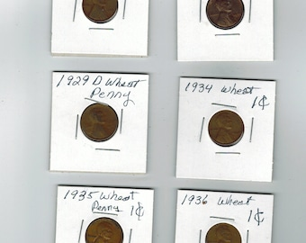 6 old U.S. coins Lincoln wheat pennies . 1925 to 1936  ---  L-13