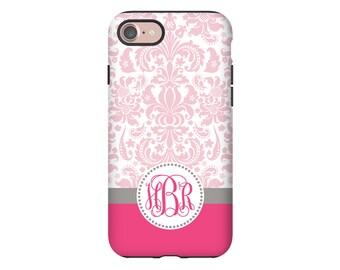 Monogram iPhone 7/7 Plus case, pink floral iPhone X case, damask iPhone 8 case, iPhone 8 Plus case, 6s case, iPhone 6 Plus case/6s Plus case