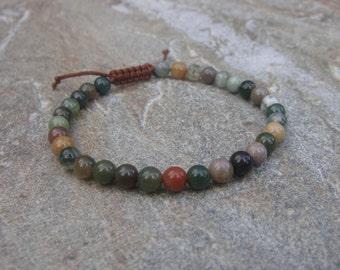indian agate bead macrame bracelet 6mm