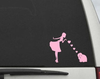 Pinup Girl with Lop  Decal- Bunny Rabbit Lop Mom Blowing Kisses Decal -- Car Window Decal Sticker