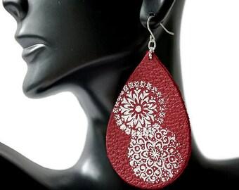 Red Leather Statement Earrings, Large Leather Teardrop Earrings, flower Earrings, Mismatched Earrings, Earrings Flower Leather