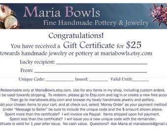 Gift Certificate for 25 Dollars at Mariabowls on Etsy
