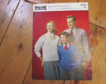 1960 Lee Target double knitting pattern for set of family sweaters