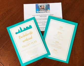 Chicago bachelorette invitations with Chicago skyline cutout!