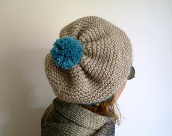 Womens Hand Knitted Pom Pom Beret, Slouchy Hat in Neural Beige Teal, Winter Hat,Knit Hat