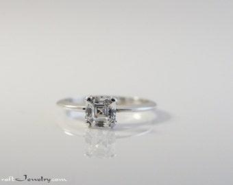 Asscher Cut Cubic Zirconia Engagement Ring Sterling Silver Knife Edge CZ Solitaire .87-1.5 Carat Promise Ring Faux Diamond Simulant Size 3-9
