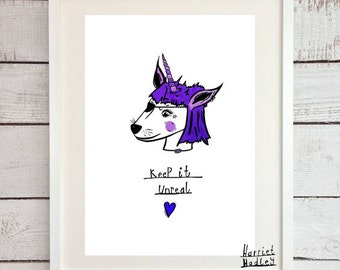 Purple Unicorn Cute Keep It Unreal Print Illustration Home Decor Nursery Art