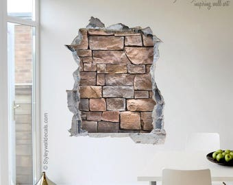 Stones Wall Decal, Bricks Wall Sticker Mural, Hole In The Wall 3d Effect  Wall