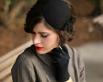 Black Fascinator with Veil and Simple Bow