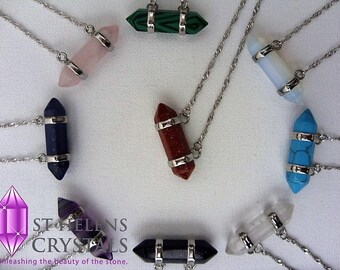 Double Wrapped Wire. Chakra Reiki healing, Gemstone Pendant Necklace