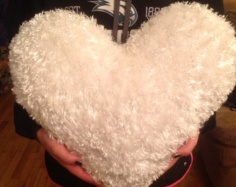 Extra Large, White, Faux Fur Heart Shaped Pillow, Valentine Pillow