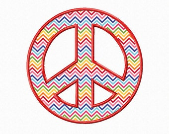 Peace Sign Applique Machine Embroidery Design - 4 Sizes