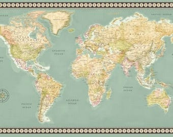 World map fabric etsy meridian world map fabric panel 23 x 44 inch world map panel continents on gumiabroncs Gallery
