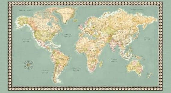 Meridian world map fabric panel 23 x 44 inch world map panel meridian world map fabric panel 23 x 44 inch world map panel continents on green quilt panel world map fabric panel gumiabroncs Image collections