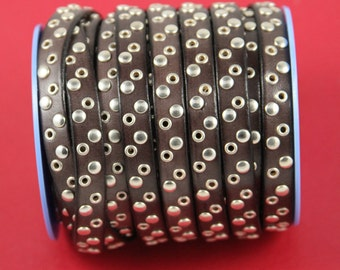 MADE in EUROPE 8'' brown leather cord with rivets, 10mm studded  leather cord, 10mm flat leather cord(vm10c/tdo)