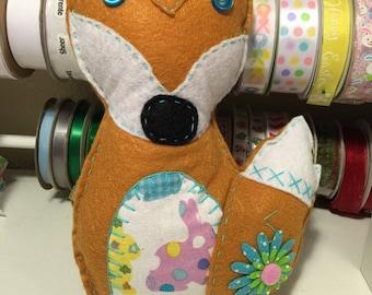 Blue Flower Felt Easter Fox Plushie