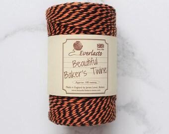 Orange and Black Twine, 10 ply Bakers Twine, Packaging Twine, Cotton Twine, Gift Wrap, Everlasto Twine, Twine Supplies, Halloween Twine