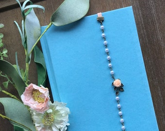 Pearl and flower bookmark