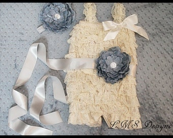 Baby Girl Petti Romper With Sash~Headband~Posh~Boutique~Cake Smash Pics~Shower Gift~Summer Outfit~Pageant~Lace~Toddler~Ivory~Gray~Ruffles~