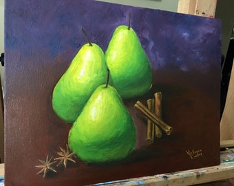 Pears, cinnamon and anise still life oil painting