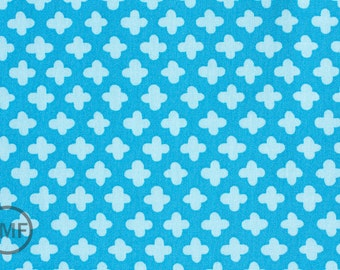 Half Yard Pop Posies Pluses in Blue, Nancy Mims for Robert Kaufman, 100% Organic Cotton, ANM-12794-247
